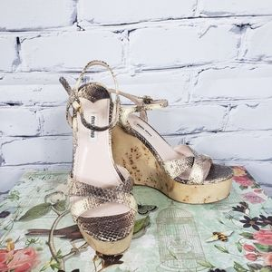 Miu Miu Snakeskin and Burl Wood Platform Wedges